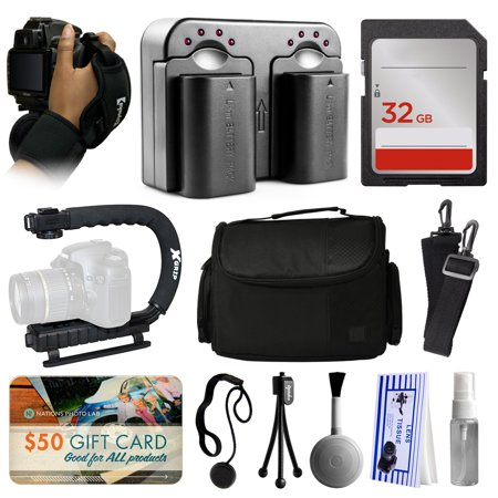 Deluxe Accessories Package for Nikon D5500 D5300 D5200 D5100 D3300 D3200 D3100 DSLR Digital Camera includes Hand/Wrist Strap + 2 Batteries + Dual Charger + 32GB Memory + xGrip Action Stabilizer + Case