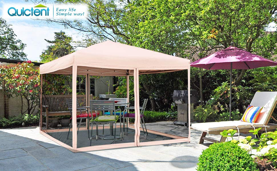 10X10 Ez Pop up Canopy with Netting Screen House Instant Gazebos Mesh Sides Tan by