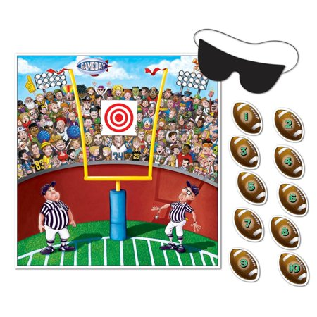 Club Pack of 24 Sports Themed Pin the Football on the Goal Post Party Game