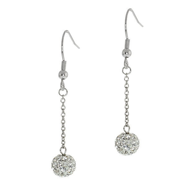 1.75 Inch 8mm White Pave Crystal Disco Ball Dangle Earrings