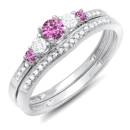 Dazzlingrock Collection 10K Round Pink Sapphire And White Diamond 5 Stone Bridal Engagement Ring Set, White Gold, Size 5.5