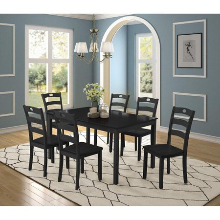 CLEARANCE! Dining Set Kitchen Table with 7 Piece Chairs, Solid Acacia Wood  Rectangular Table with Thick Legs & Black Finish Frame, Dining Table and ...