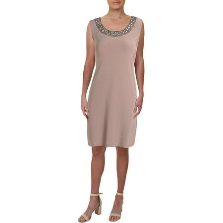R&M Richards Womens Petites Matte Jersey Embellished Cocktail Dress Taupe 10P