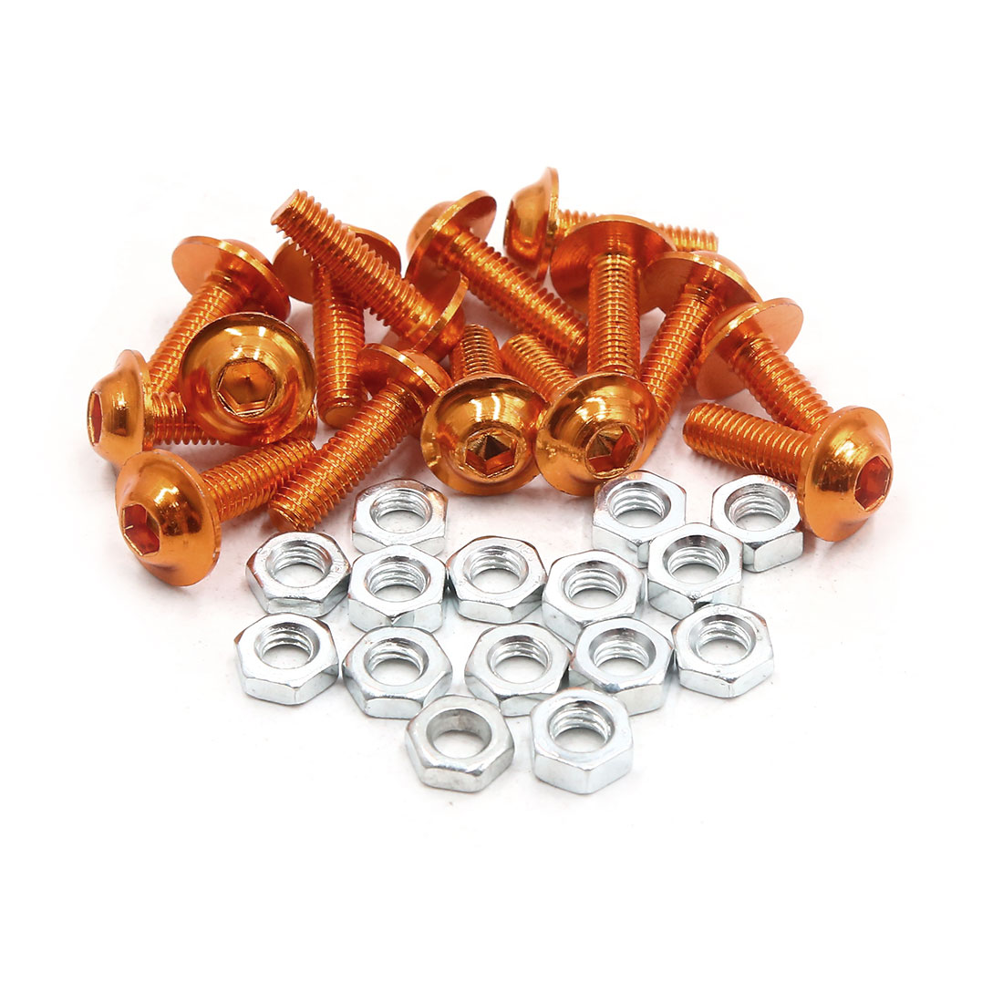 15pcs M6 Orange Aluminum Alloy Hex Socket Head Motorcycle Bolts Screws Nuts