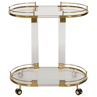 Safavieh Couture Lennon 2-Tier Glam Acrylic Bar Trolley with Casters
