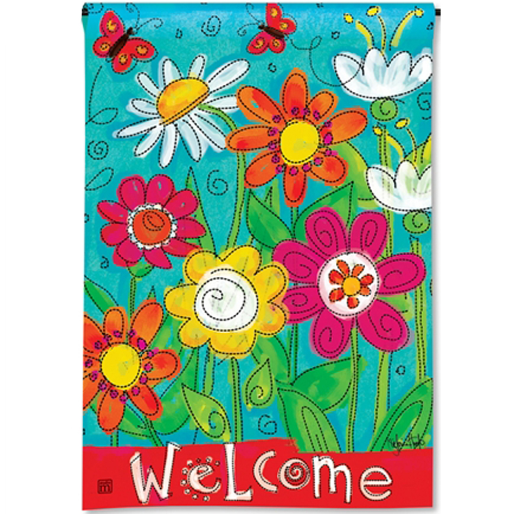 Magnet Works Welcome Blooms Welcome Garden Flag #31274