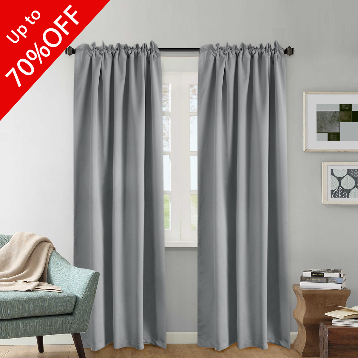 Premium Blackout Curtains 2 Panels, Thermal Insulated Back Tab / Rod Pocket Panels for Baby Girls Bedroom, Energy Saving Window Panel Drapes - 52x84 Inch - Khaki