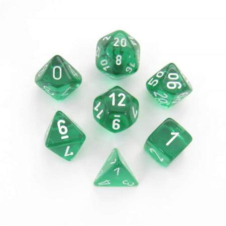 Chessex CHX23075 Fabrication de d-s translucides verts avec chiffres blancs - Ensemble de 7 - image 1 de 1