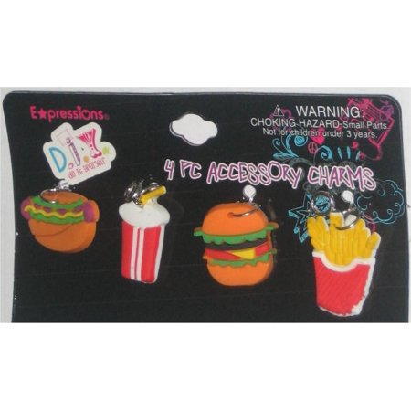 Fast Food Burger Fries Hot Dog Milk Shake Charm Keychain Set - (Rainbow