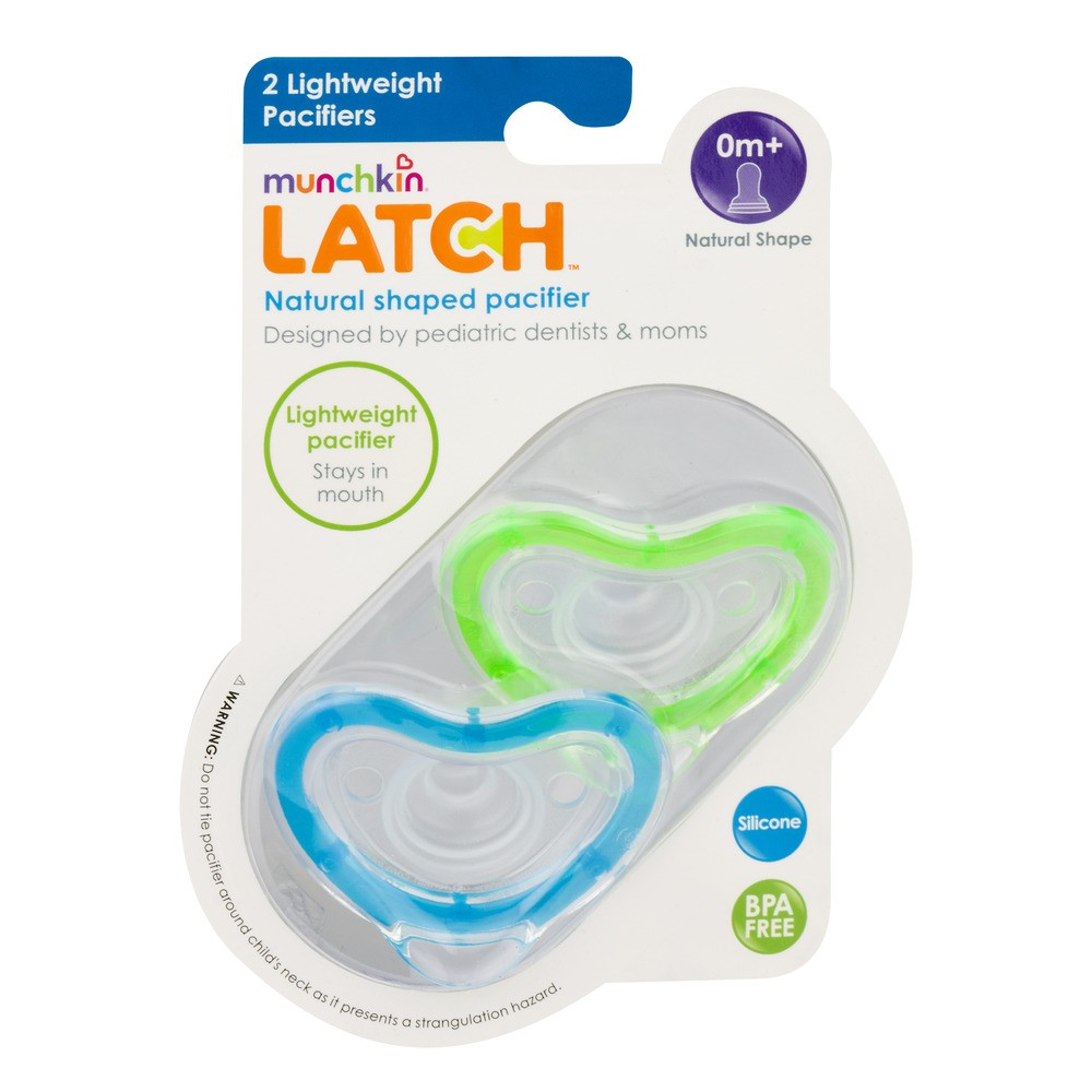 Munchkin Latch Natural Shape Newborn Pacifier, 0+ Months, Blue/Green - 2 Counts