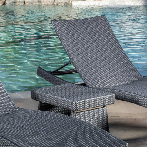 Raleigh Outdoor Wicker 3 Piece Chaise Lounge Set