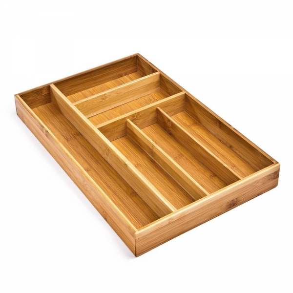 Large Bamboo Utensil Drawer Organizer Tray Cutlery Storage Bamboo Color