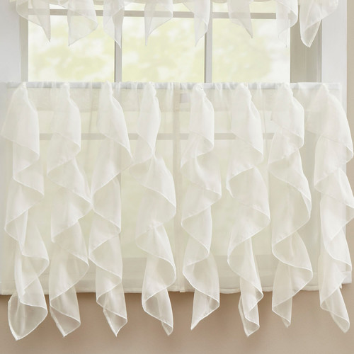 Sweet Home Collection Elegant Sheer Voile Vertical Ruffle Window Kitchen Tier Curtain (Set of 2)