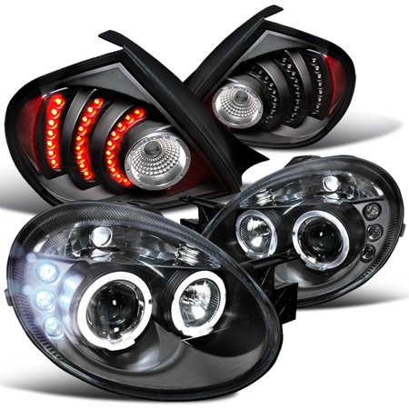 Spec-D Tuning 2003-2005 Dodge Neon Black Halo Projector Headlights + Led Rear Tail Lamps (Left + Right) 2003 2004 2005