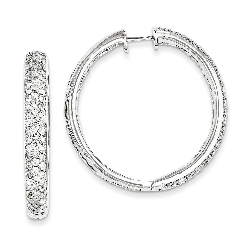 14k White Gold Diamond Hinged Hoop Earrings - 3.53 dwt