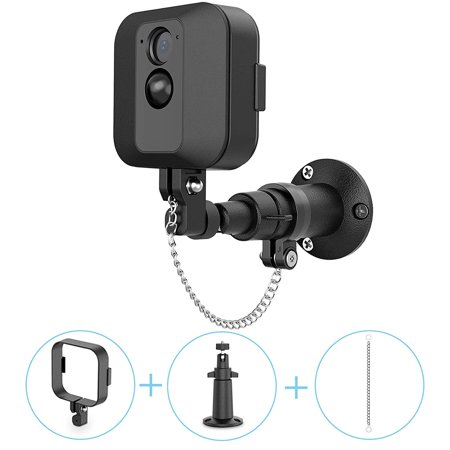 EEEKit Wall Mount Bracket for Blink XT Camera, 360 Degree Adjustable Indoor Outdoor Wall Mount with Protective Housing Cover & Theft Security Chain for Blink XT Home Security Camera(1Pack, Black)