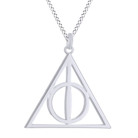 Harry Potter Deathly Hallow Symbol Pendant Necklace In 14K Gold Over Sterling Silver By Jewel Zone US