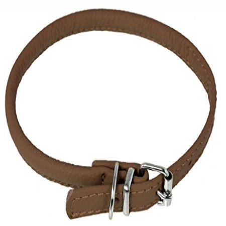 Dogline Round Leather Collar W1 4 L6 8 Brown