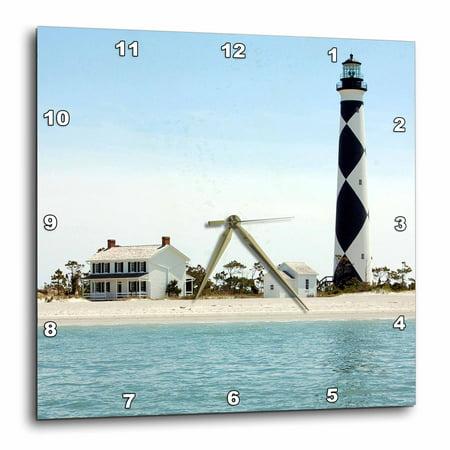 3dRose North Carolina, Cape Lookout lighthouse - US34 LSE0035 - Lynn Seldon, Wall Clock, 15 by 15-inch