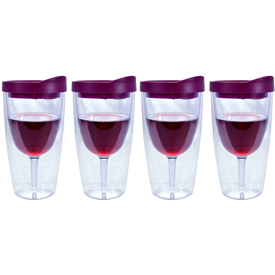 Southern Homewares Merlot Red Insulated Wine Tumbler, Double Wall Acrylic, 10oz, Set of 4