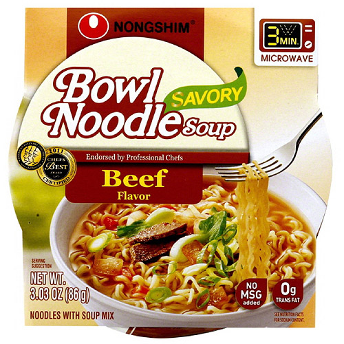 Nong Shim Beef Noodle Bowl Soup, 3.03 oz   (Pack of 12)