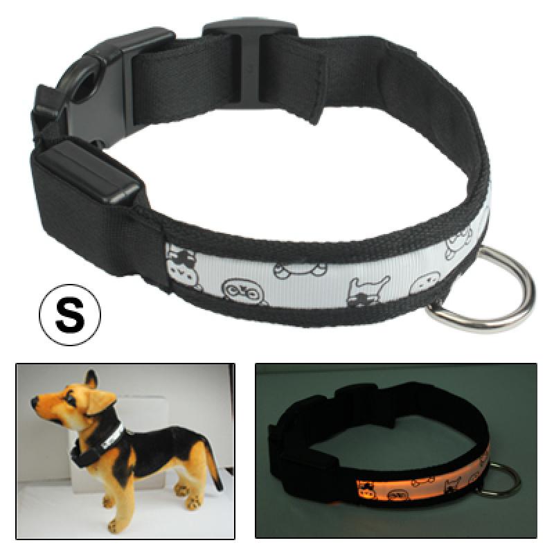 LED Dog Collar Adjustable Glowing Pet Safety 3-Mode LED Flashing Reflective Light Up Collar, Size: Small