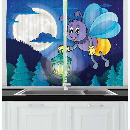 Firefly Curtains 2 Panels Set, Cute Little Bug Flying with Lantern on Full Moon Sky Night Childish Kids Cartoon, Window Drapes for Living Room Bedroom, 55W X 39L Inches, Multicolor, by Ambesonne](Flying Fireflies)