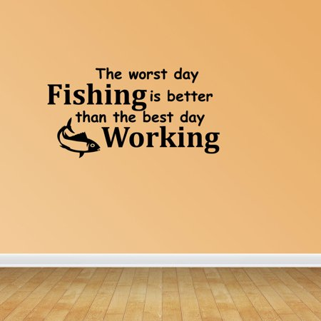 Worst Day Fishing Vinyl Wall Decals Sports Decal Fishing Quote PC191 ...