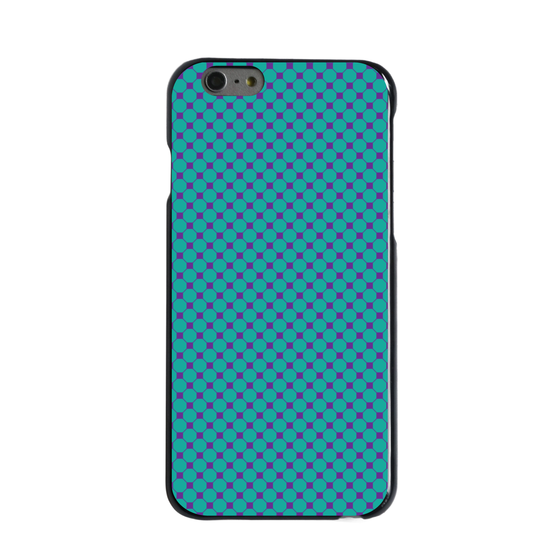 "CUSTOM Black Hard Plastic Snap-On Case for Apple iPhone 6 PLUS / 6S PLUS (5.5"" Screen) - Teal Purple Checkered Pattern"