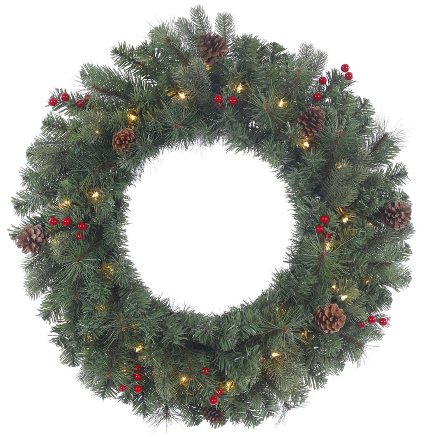"30"" Pre-Lit Wesley Mixed Pine Artificial Christmas Wreath - Clear Lights"