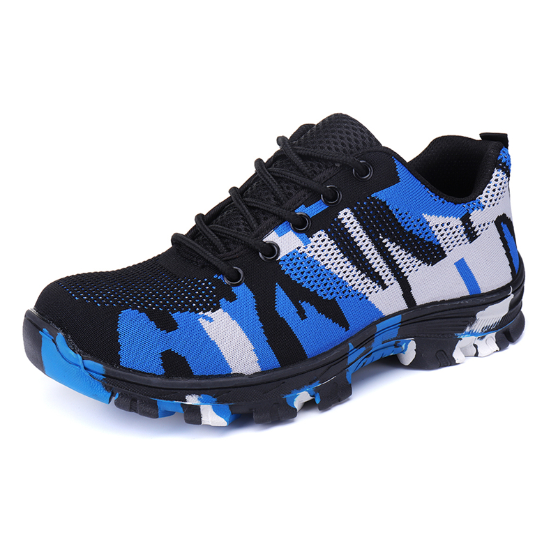 Mens womens Camouflage Safety Shoes Steel Toe Cap Work Shoes Breathable Trainers