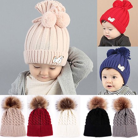 84266a9795d Girl12Queen - HiCoup Newborn Baby Boy Girl Kids Winter Warm Hat Pom Bobble  Knit Crochet Beanie Cap - Walmart.com