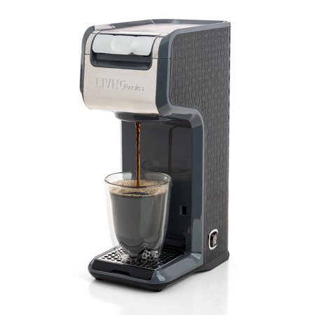 11e4c237455 LIVINGbasics™ 2 in 1 Single Serve Coffee Maker Coffee Brewer, Compatible  with K-Cup Pods or Ground Coffee, Slim Design, Portable and Easy to Use ...