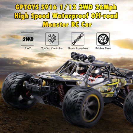 GPTOYS S916 RC Car 26Mph Remote Control Truck 1/12 Scale 2.4 GHz 2WD Waterproof Off-road Monster Car-Best Gift for Kids and Adults (New (Best Remote Control Trucks For Adults)
