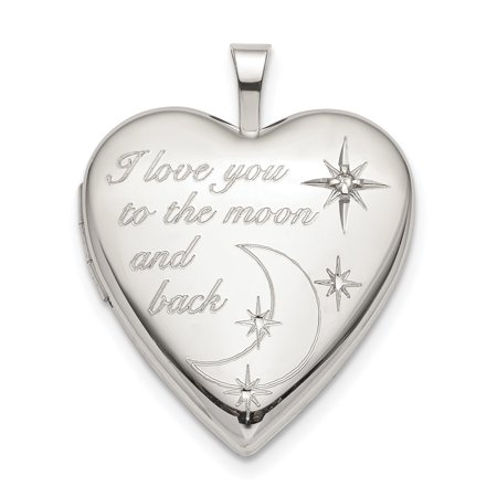 925 Sterling Silver 20mm Love To The Moon Diamond Heart Photo Pendant Charm Locket Chain Necklace That Holds Pictures Diamond Heart Locket Necklace