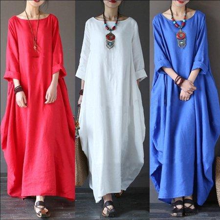 a79d96b35d Viugreum - Women Linen Dress Loose Casual Irregular Long Sleeve Maxi Dress