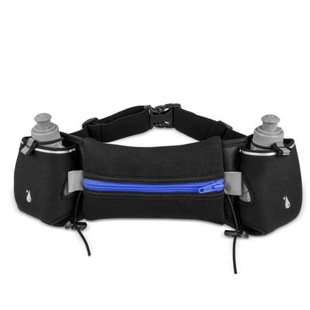 Running Waist Pack, EpicGadget(TM) Hydration Running Belt with Two Water Bottles Waterproof Reflective Multifunctional Zipper Pockets Waist Bag for Hiking Running Cycling Camping Climbing (Best Running Water Bottle Belts)