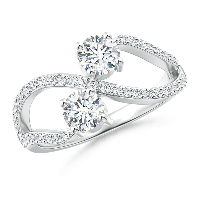 Angara Split Shank Two Stone Diamond Bypass Ring with Prong-Set ybedn