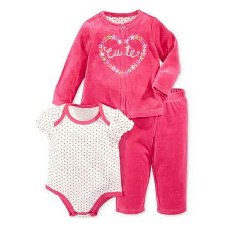 First Impressions Infant Girl 3 Piece Pink Velour Cutie Pants Shirt Sweater