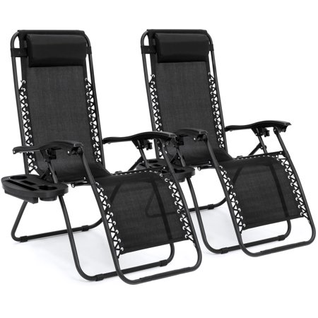 Zero Gravity Chairs Case Of  2  Black Lounge Patio Chairs Utility Pool Tray Cup Holders