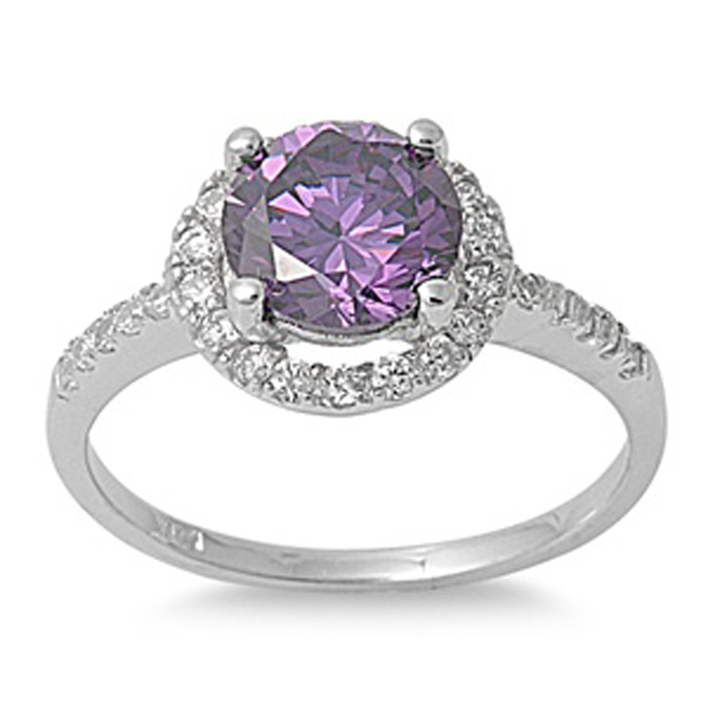 CHOOSE YOUR COLOR Simulated Amethyst Polished Elegant Halo Ring New .925 Sterling Silver Band (Simulated Amethyst/Ring Size 8)