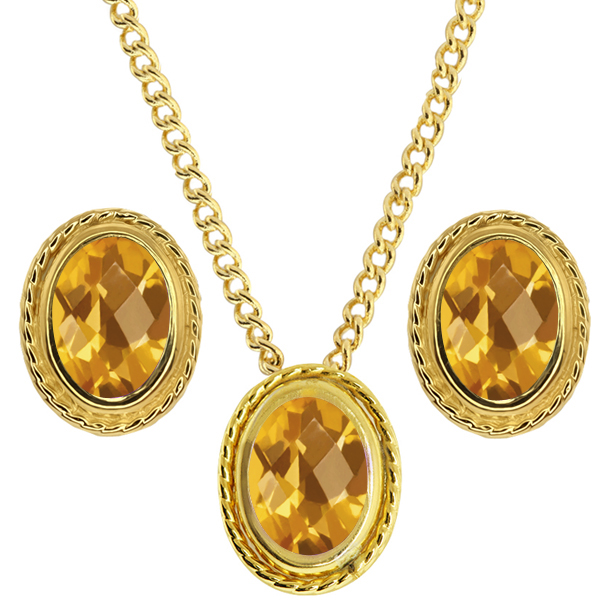 2.10 Ct Oval Checkerboard Yellow Citrine 925 Yellow Gold Plated Silver Pendant Earrings Set