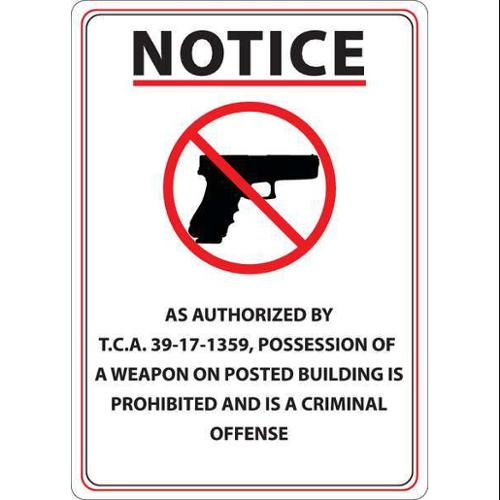 ZING 2807 Tennessee Concealed Carry Sign,English