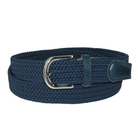 Men's Elastic Braided Stretch Belt with Silver Buckle and Matching Tabs