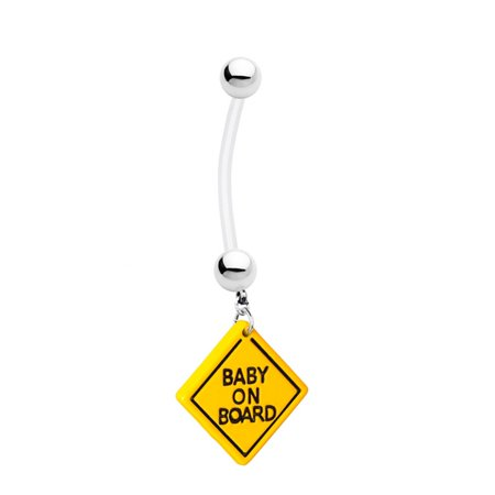 Devil Dangle Belly Ring - Baby on Board' Maternity Belly Ring - 14ga Dangle Flexible Pregnancy Belly Ring