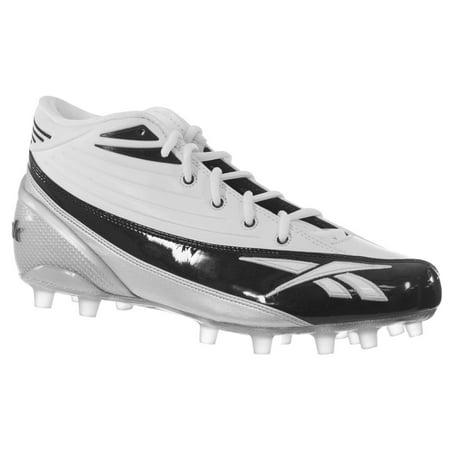 REEBOK MEN'S 4-SPEED II MD M2 WHITE BLACK MOLDED FOOTBALL CLEATS 12 M (Md Mid Football Cleat)