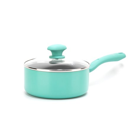 GreenLife Diamond Ceramic Non-stick 2.5 Qt. Sauce Pan, Turquoise Ceramic Non Stick Saute Pan