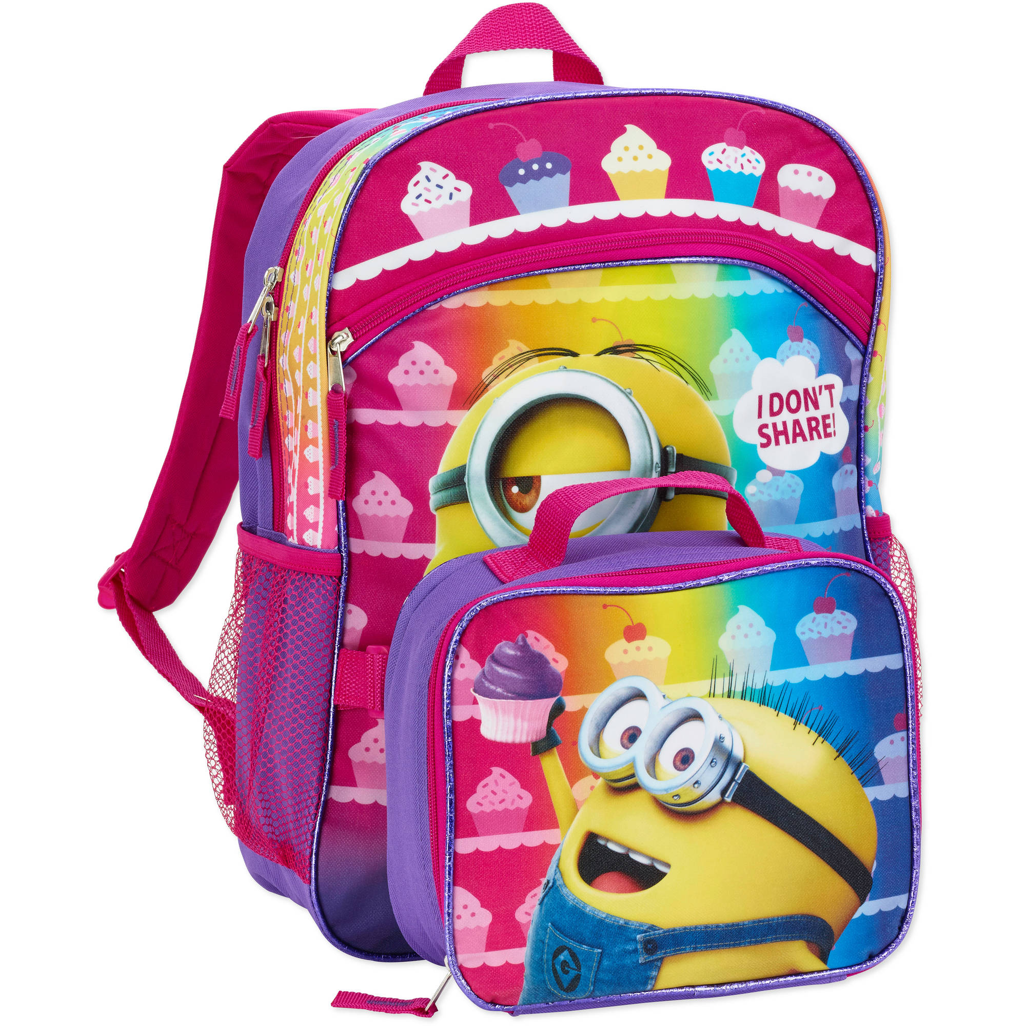 "Despicable Me I Don't Share 16"" Backpack with Lunch Tote"