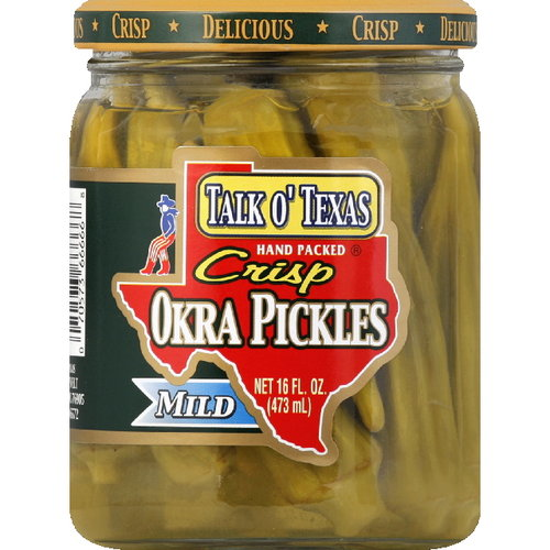 Talk O' Texas Brands Crisp Mild Okra Pickles, 16 oz (Pack of 6)