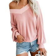 Womens V Nack Off The Shoulder Sweaters Fall Winter Tunics Tops